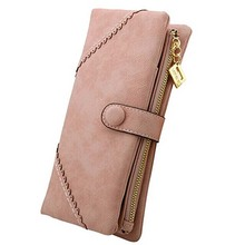 Women's Long Leather Wallet Button Clutch Purse For Lady