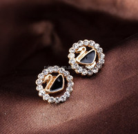 New big brand D summer style Earrings Cute Korean Fashion Jewelry rose gold plated crystal Fashion stud Earrings