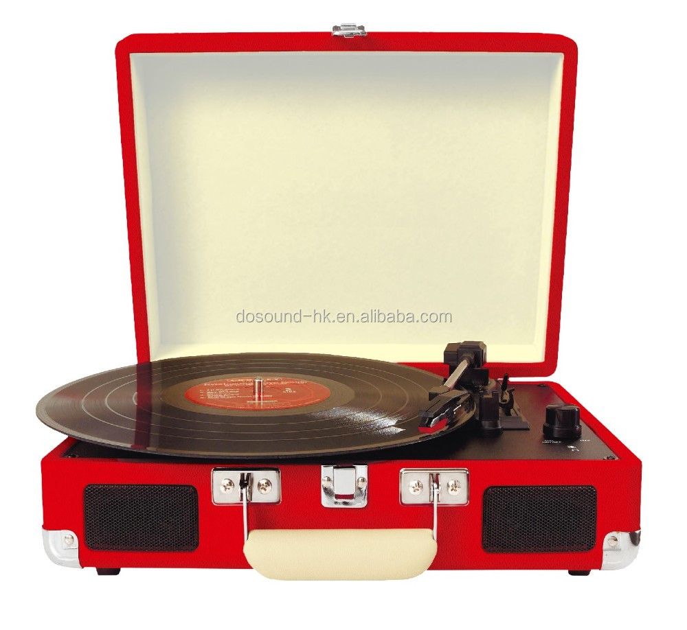 Bluetooth phonograph suitcase turntable with classic vintage design record player & antique gramophone for sale