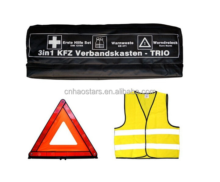 Safety Kits warning triangle with Safety Vest ,first aid for Auto Use