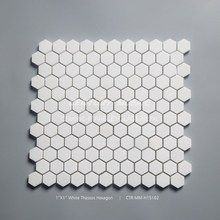 "1"" Hexagon Thassos Mosaic Tile Marble From Century"