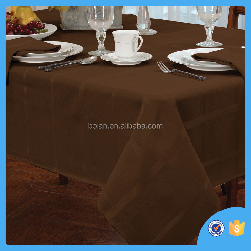 Fancy Polyester square tablecloth,chocolate color,made in china