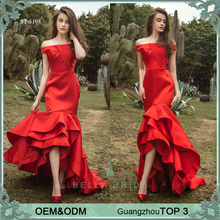 Rose red tiered mermaid brides maid dress formal evening party dresses