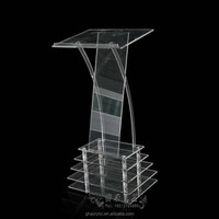 Contemporary Clear Acrylic Lectern / Podium With Storage Shelf