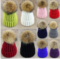 Large 15cm Ball Women Hat Winter Fur Knit Beanie Ski Cap Bobble Hat