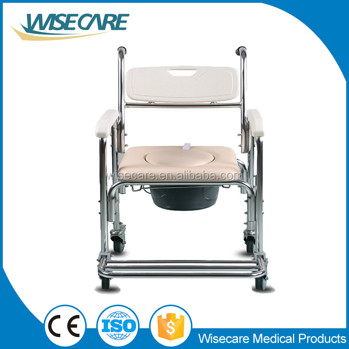 Aluminum Folding Commode Wheel Chair On Caster With Cutout Seat