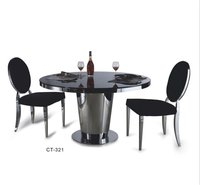 Contemporary stainless steel legs top dining table