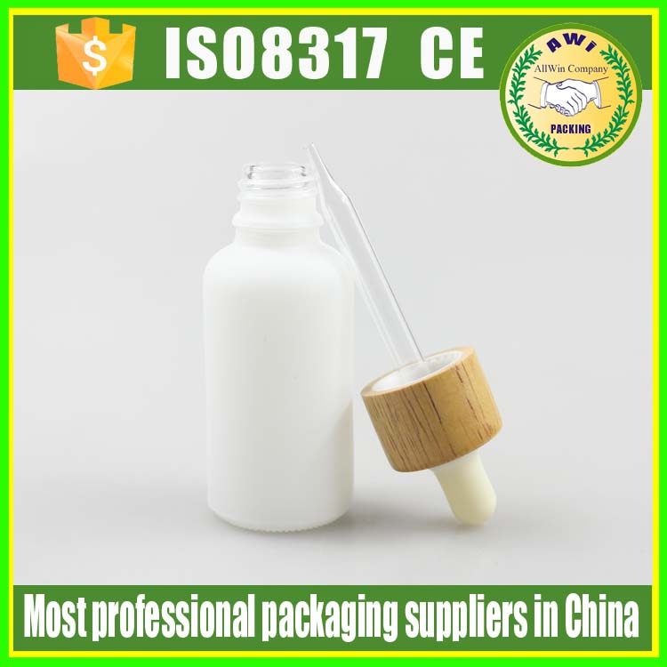 bamboo cap cosmetic container glass dropper bottle for perfume use cosmetics packaging serum glass bottles