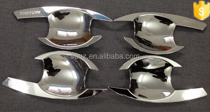 New arrival ABS plastic design door handle insert chrome for <strong>Mitsubishi</strong> Triton 2015 chromed <strong>car</strong> accessories