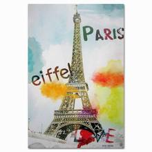 Pop Paris Eiffel Tower cheap commercial stretched canvas art printing shenzhen