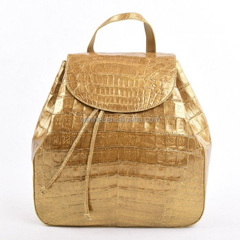 Golden crocodile backpack#exotic backpack#backpacks#designer backpacks#Crocodile Large Backpack