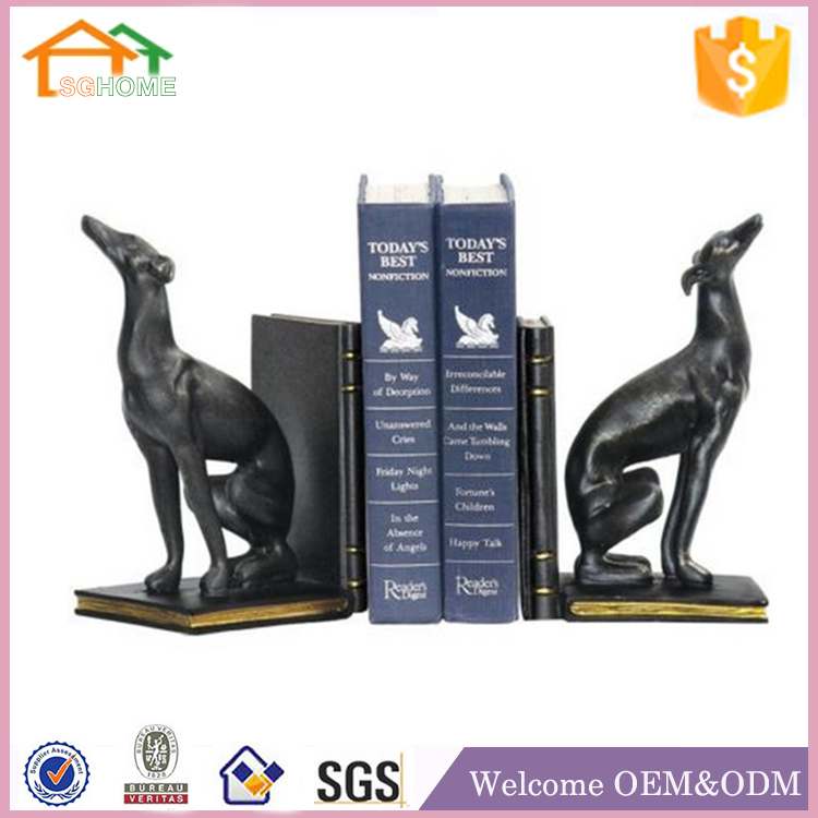 Factory Custom made home decoration greyhound bookend polyresin interior decorative statues