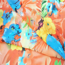 Bohemian big flower chiffon fabrics for lady summer dress