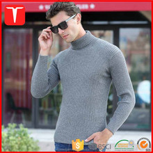 Men knit ribbed pattern turtleneck sweater