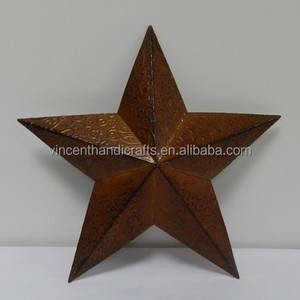 Christmas hanging rusty metal tin star for wall decoration