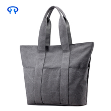 grey color ladies tote cotton shopping bag