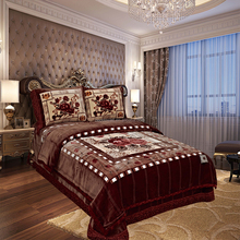 Home Textile Korean Style Raschel Blanket Embossed 4pcs Bedding Set Polyester King Size Bedlinens
