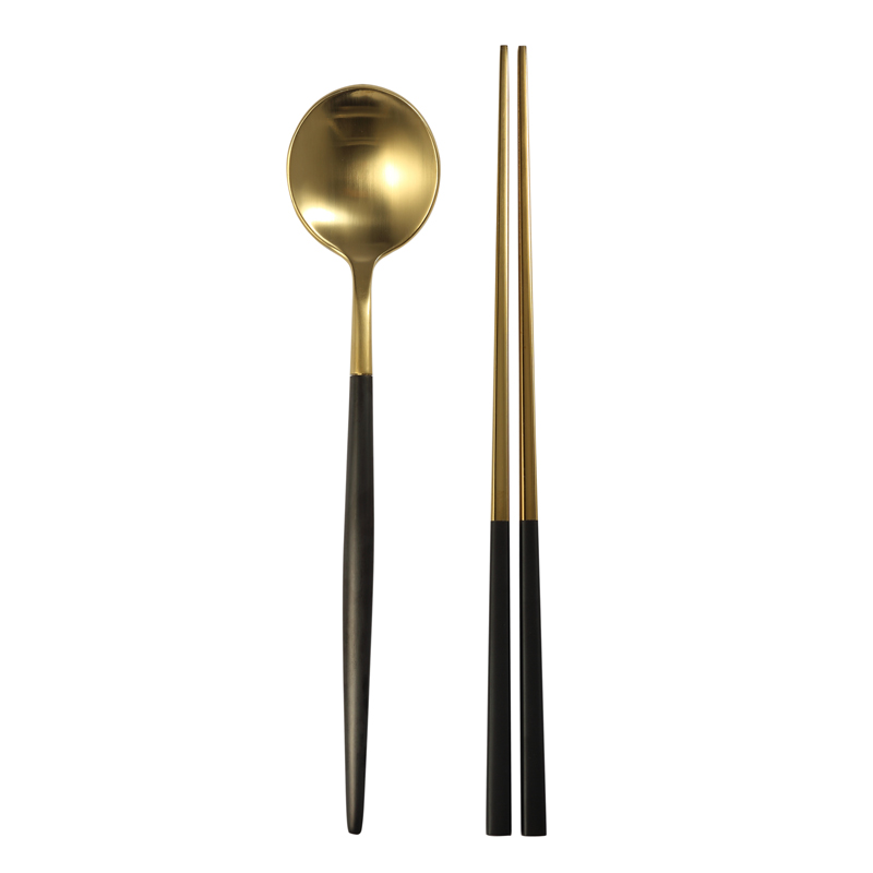 chinese wholesale metal gifts set gold white type 304 stainless chopstick and spoon gift