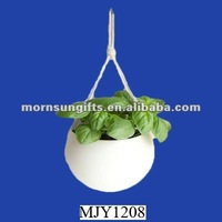 porcelain and cotton rope hanging planter