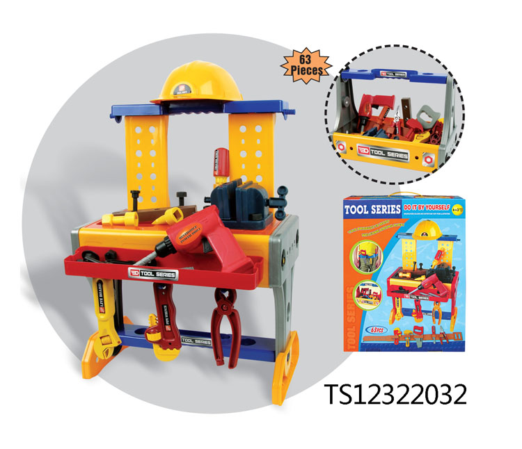Hot sale plastic my workshop household bricolage tool rack toys for kids TS12322032