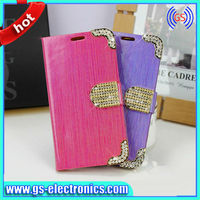 Crystal Rhinestone Diamond flip leather wallet bling case for lg optimus g2