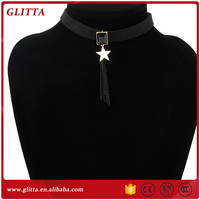 YX041New Simple Design Black Leathe Gold Jewelry Necklace Five-pointed star pendant tassel necklace