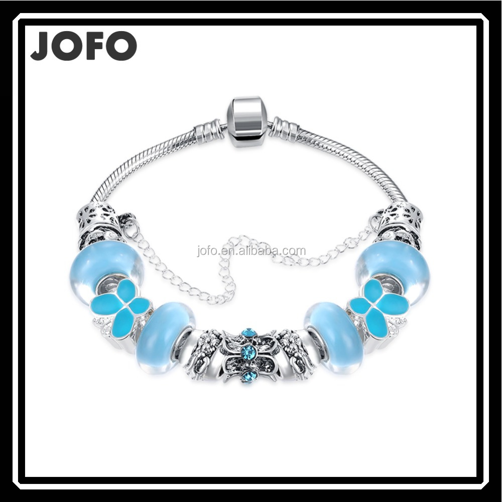 European Style Murano Crystal Glass Beads Bracelet For Women with Green Antique Charms