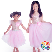 New Model Girl Children's Gold Sequin Dress With Pink Glitter Tulle Baby Western Evening Dress Toddler Girl Boutique Dress