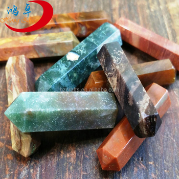 Wholesale Natural moss agate Point Crystal Wand