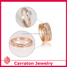 Fashion plaza 18k rose gold plated 3-in-1 cubic zirconia cz wedding engagement ring set