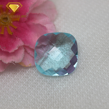 Lab created square loose aquamarine glass gemstone faceted glass stones