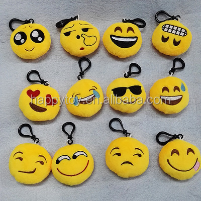 HI CE custom plush toys Round shape soft plush keychain for sale