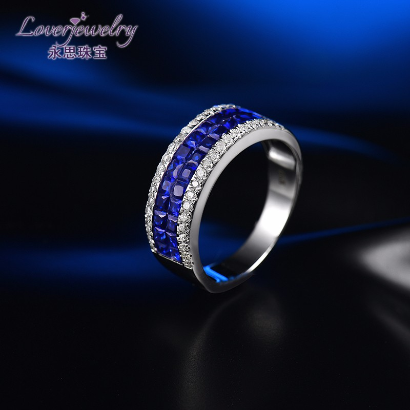 25 Points Diamond 4 Grams Solid 18K White Gold Pave Setting 1.56ct Natural Blue Sapphire Ring