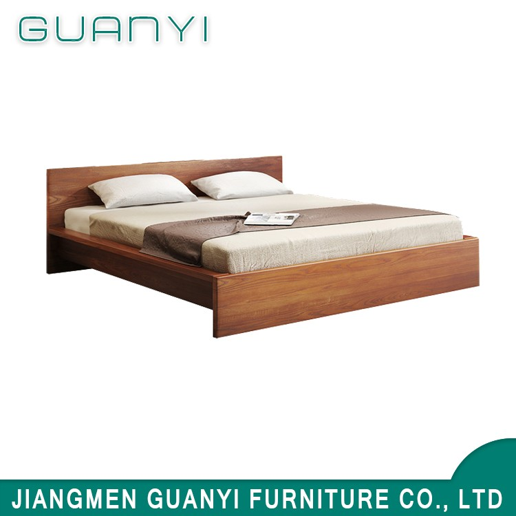 modern simple new design super king size of solid teak wood floor craft double cot bed furniture
