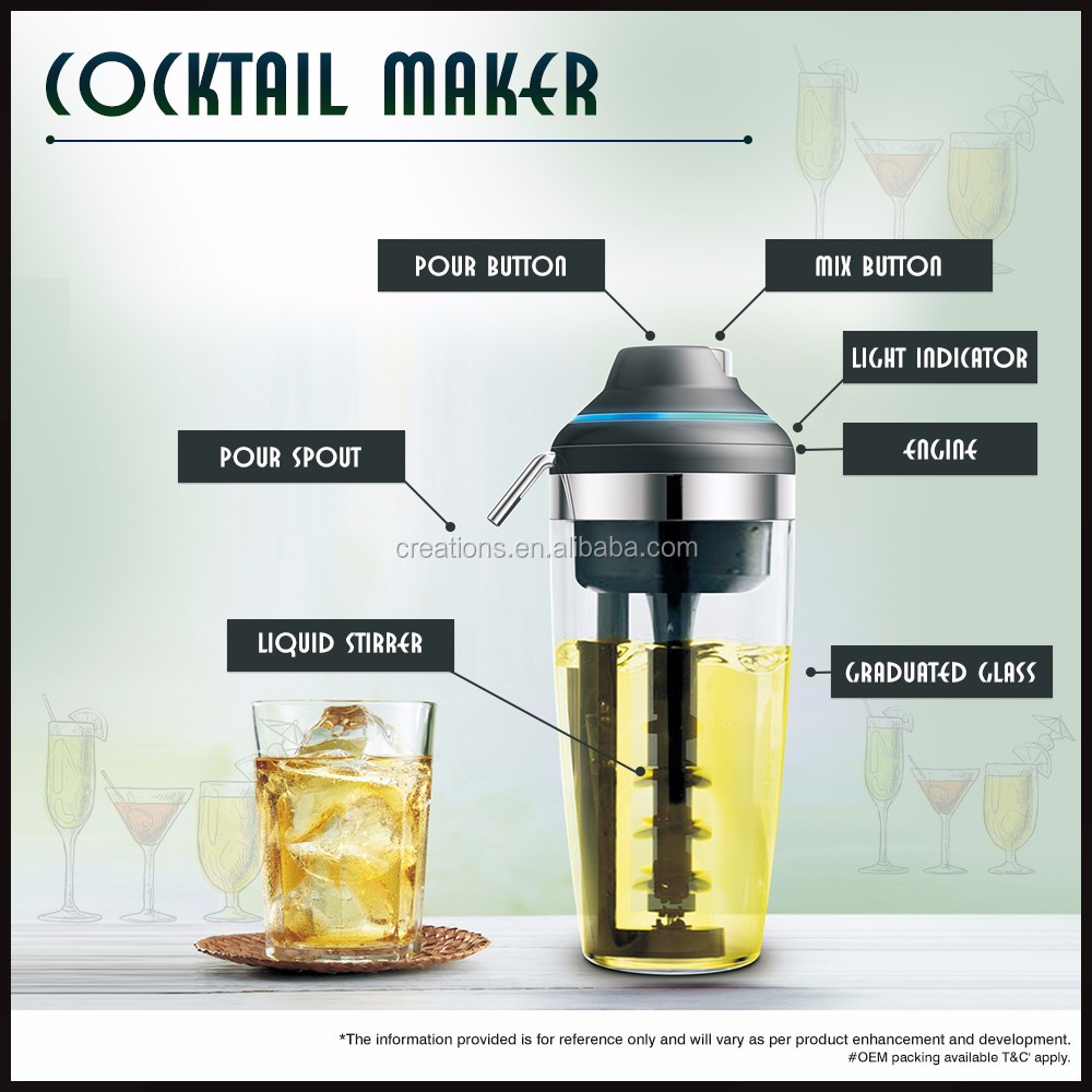 2016 new 600 ml drink maker cocktail mixer shaker ABS,AS,S/S201,S/S304,POM,PP automatic stirrer and dispenser LED indicator
