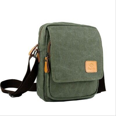 free shipping genuine leather patch high quality canvas small messenger <strong>bag</strong>