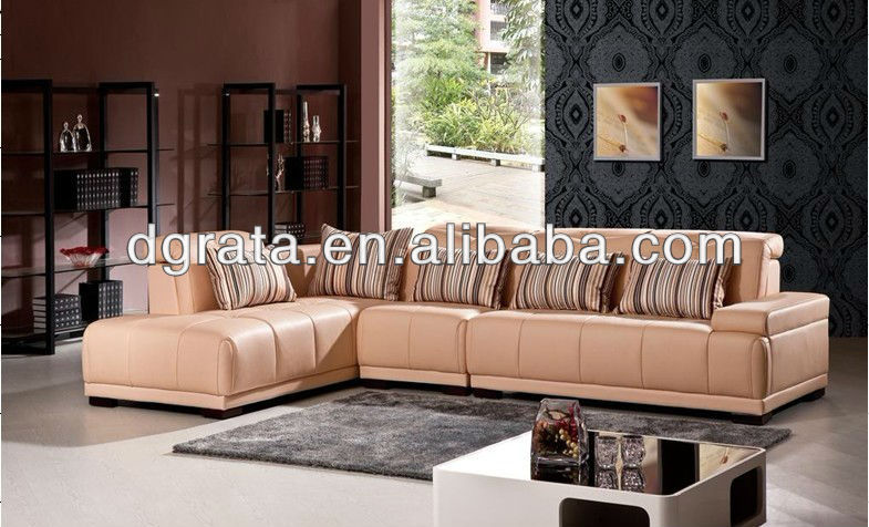 2013 light pink leather sofas was made from high density sponge and genuine leather