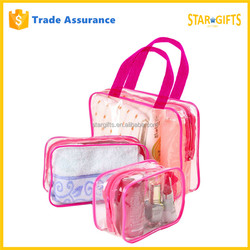 Alibaba China Wholesale 3 Piece Waterproof Clear PVC Toiletry Bag For Travel