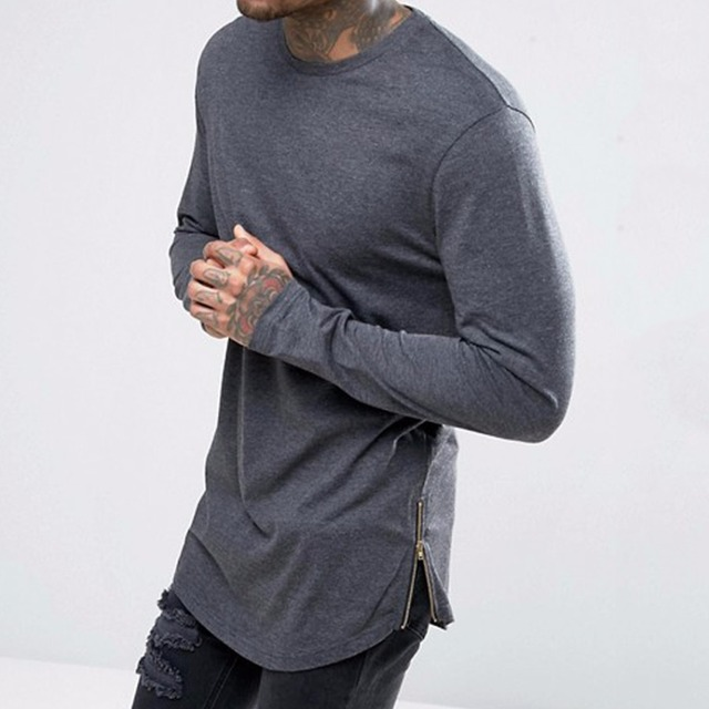 Wholesale Super Longline Long Sleeve T Shirt With Curved Hem And Zips