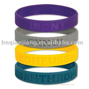 Debossed Silicone Rubber Bracelets