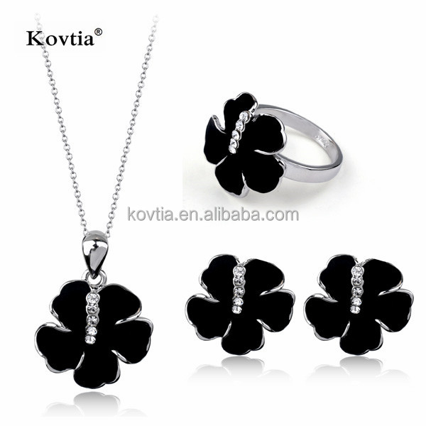 Fashion black flower jewelry set nacklace earring and ring set
