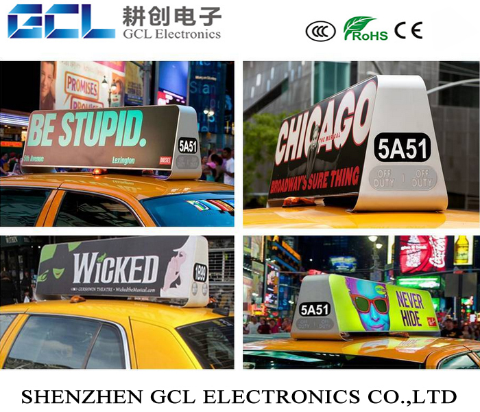 full color mobile 3g advertising led display screen 7000 nits taxi top digital led billboard