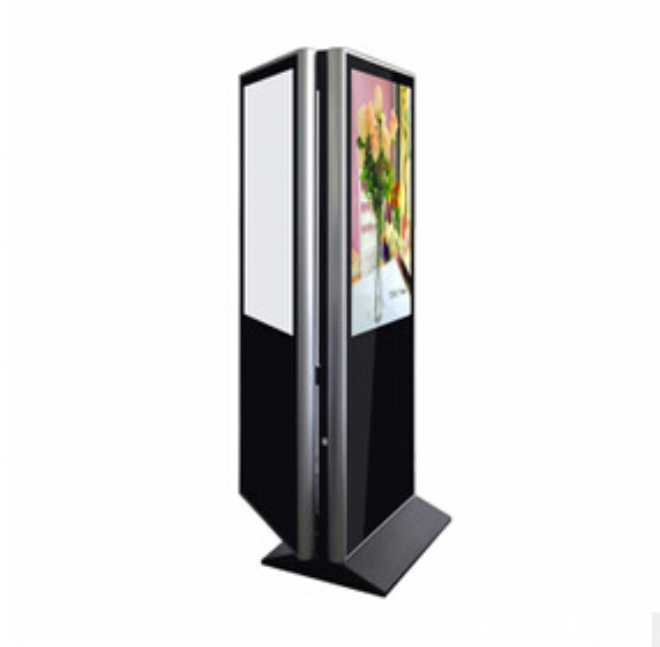 interactive Information/advertising display kiosk with two sides touch screen