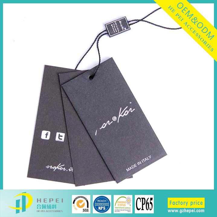 Garment black cardboard custom design logo printing swing label/hang tag