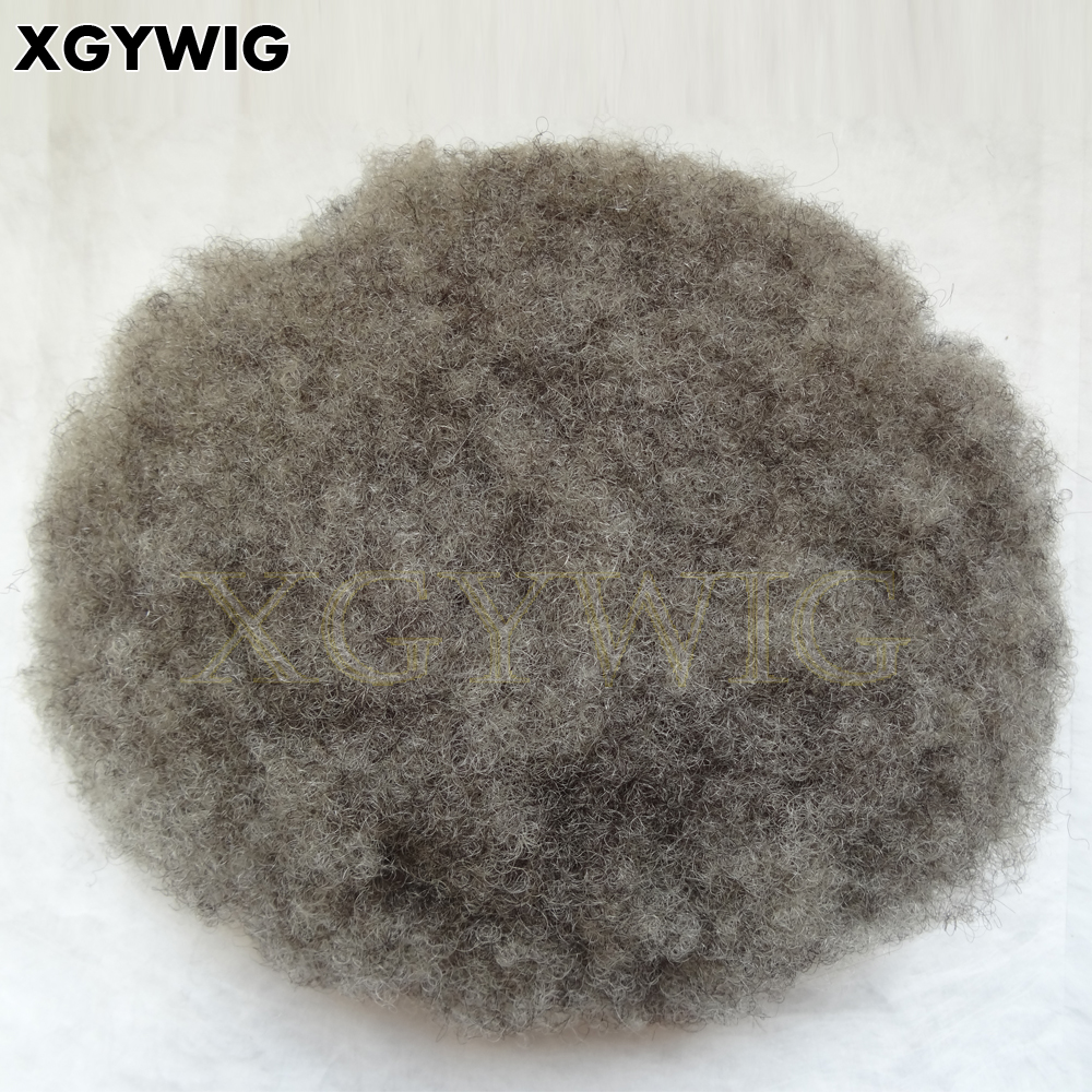 Custom order 100% Indian remy 1B 80% grey full lace black men afro curly toupee hair replacement system