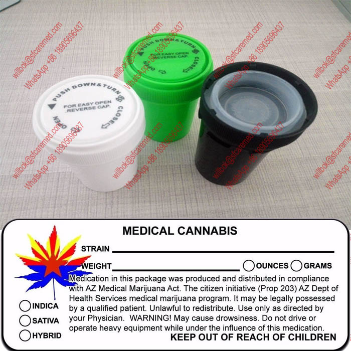 MMJ Rx Label Prescription Pill Bottles Reversible Lid Plastic Vials Pot Container