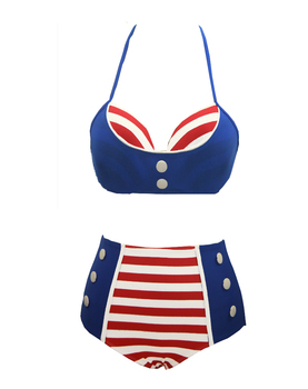 cheap Retro Stripes bathing suits Push up Bra Swimsuit High Waist Bikini