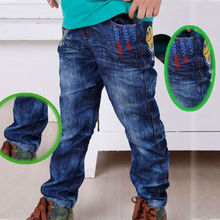 Children dress kids boys stright jeans blue rubber waistband long pants billboard printed boys and girls jeans tb9003