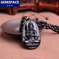 Natural Obsidian Carving Tathagata Buddha Pendant Unisex Gift