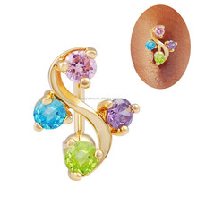 FR644 SUMMER JEWELRY 14G Colorful Crystal 18K Gold plated bar navel ring belly piercing button dangle ring